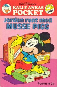 Cover Thumbnail for Kalle Ankas pocket (Hemmets Journal AB, 1968 series) #34 - Jorden runt med Musse Pigg
