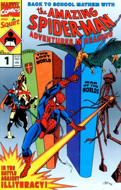 Cover for Adventures in Reading Starring the Amazing Spider-Man (1990 series) #1 [Marvel Comics and Squirt Edition]