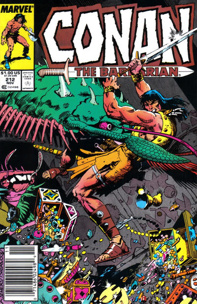 Cover for Conan the Barbarian (Marvel, 1970 series) #212 [Newsstand Edition]