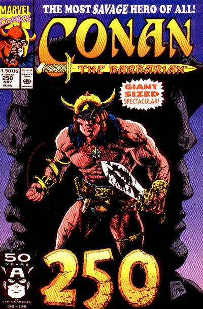 Cover for Conan the Barbarian (Marvel, 1970 series) #250 [Direct Edition]