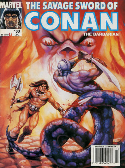 Cover for The Savage Sword of Conan (1974 series) #180 [Direct Edition]