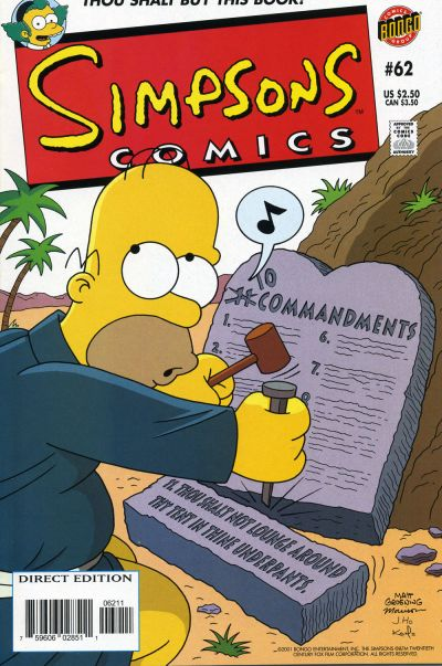 Cover for Simpsons Comics (Bongo, 1993 series) #62