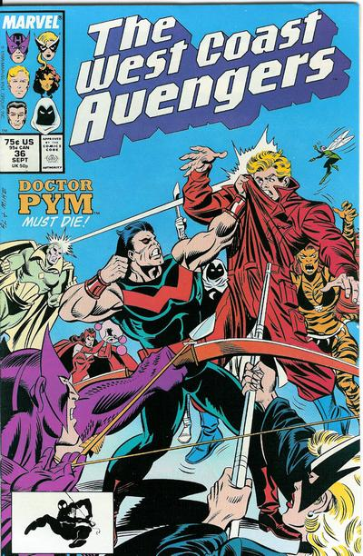 Cover for West Coast Avengers (1985 series) #36 [Newsstand Edition]