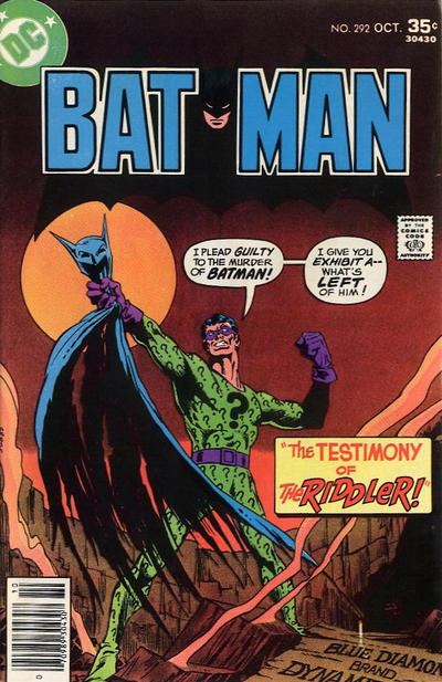 Cover for Batman (DC, 1940 series) #292
