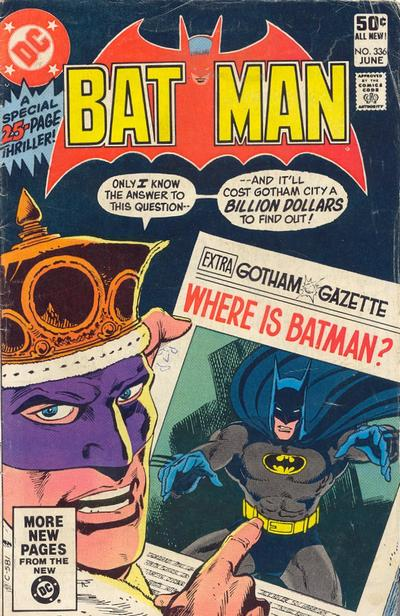 Cover for Batman (DC, 1940 series) #336 [Direct Edition]