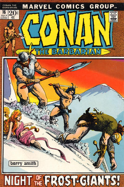 Cover for Conan the Barbarian (Marvel, 1970 series) #16 [British Price Variant]
