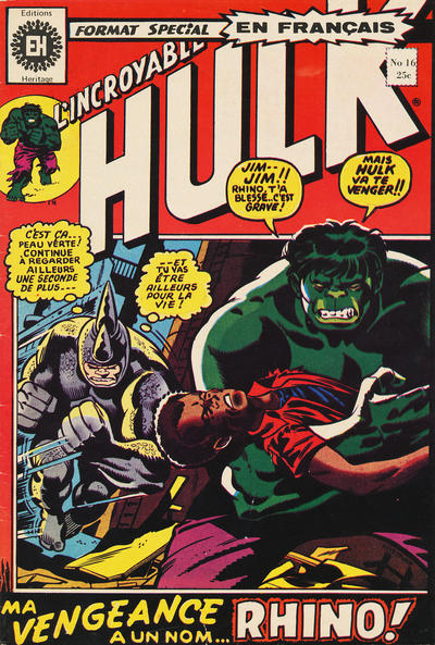 Cover for L' Incroyable Hulk (Editions Héritage, 1968 series) #16