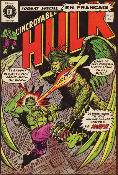 Cover for L' Incroyable Hulk (Editions Héritage, 1968 series) #27