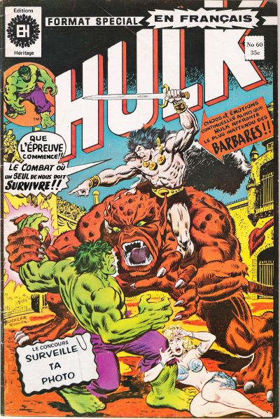 Cover for L' Incroyable Hulk (Editions Héritage, 1968 series) #60
