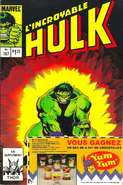 Cover for L' Incroyable Hulk (Editions Héritage, 1968 series) #167