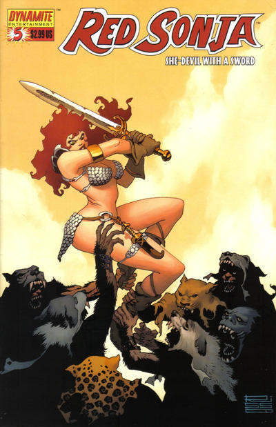 Cover for Red Sonja (Dynamite Entertainment, 2005 series) #5 [Nick Bradshaw Cover]