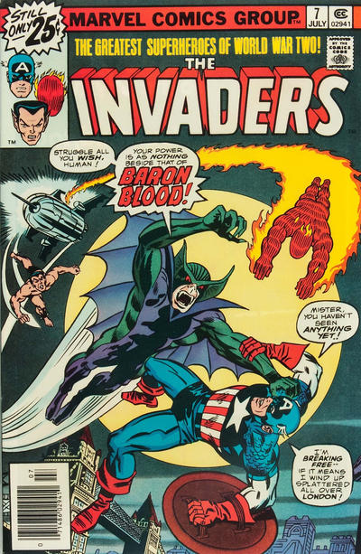 Cover for The Invaders (Marvel, 1975 series) #7 [25¢ Cover Price]
