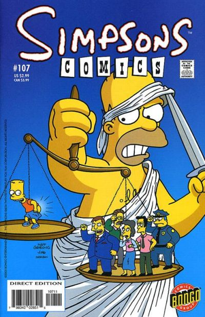 Cover for Simpsons Comics (Bongo, 1993 series) #107