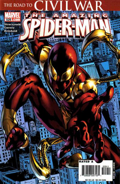 Cover for The Amazing Spider-Man (Marvel, 1999 series) #529 [Mike Wieringo Iron Spidey Costume Third Printing]