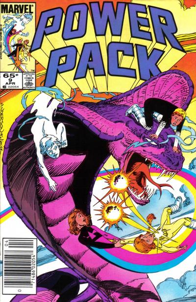 Cover for Power Pack (Marvel, 1984 series) #9 [Newsstand Edition]