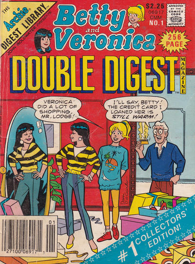 Cover for Betty and Veronica Double Digest Magazine (Archie, 1987 series) #1