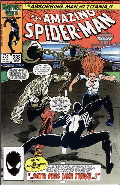 Cover for The Amazing Spider-Man (Marvel, 1963 series) #283 [Direct Edition]
