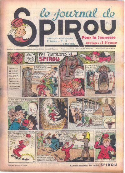 Cover for Le Journal de Spirou (1938 series) #18/1939