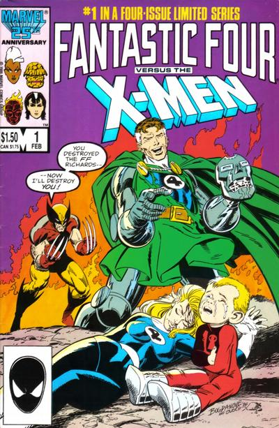 Cover for Fantastic Four vs. X-Men (Marvel, 1987 series) #1 [Direct Edition]