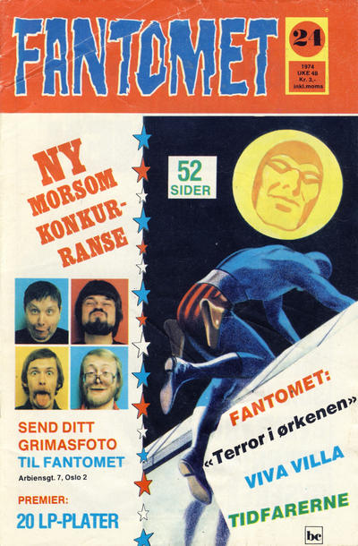 Cover for Fantomet (Nordisk Forlag, 1973 series) #24/1974