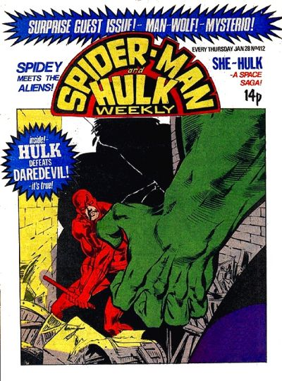 Cover for Spider-Man and Hulk Weekly (Marvel UK, 1980 series) #412