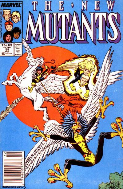 Cover for The New Mutants (Marvel, 1983 series) #58 [Newsstand Edition]