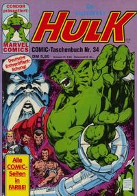 Cover Thumbnail for Der unglaubliche Hulk (Condor, 1980 series) #34