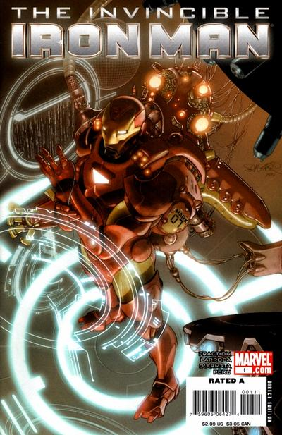Cover for Invincible Iron Man (2008 series) #1 [2nd Printing Salvador Larroca Cover]