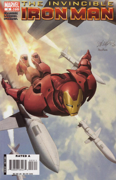 Cover for Invincible Iron Man (2008 series) #3 [2nd Printing]