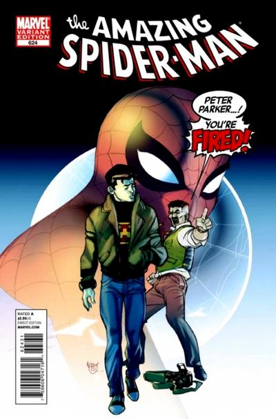 Cover for The Amazing Spider-Man (Marvel, 1999 series) #624 [You're Fired Variant Cover]
