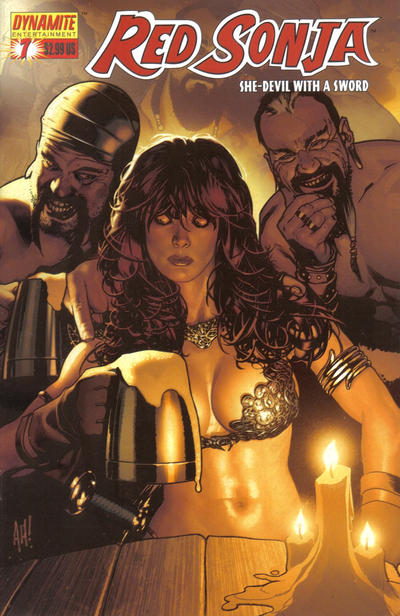 Cover for Red Sonja (Dynamite Entertainment, 2005 series) #7 [Adam Hughes Red Foil Virgin Incentive Cover (1 in 20)]