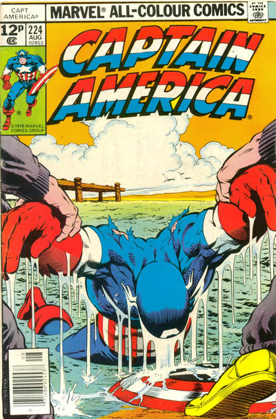 Cover for Captain America (Marvel, 1968 series) #224 [British Price Variant]