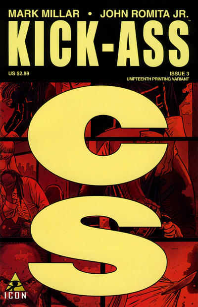 Cover for Kick-Ass (Marvel, 2008 series) #3 [Second Printing Variant]