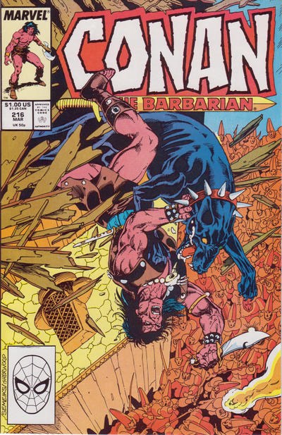 Cover for Conan the Barbarian (Marvel, 1970 series) #216 [Newsstand Edition]