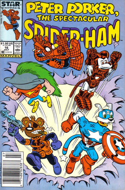 Cover for Peter Porker, the Spectacular Spider-Ham (Marvel, 1985 series) #16 [Direct Edition]
