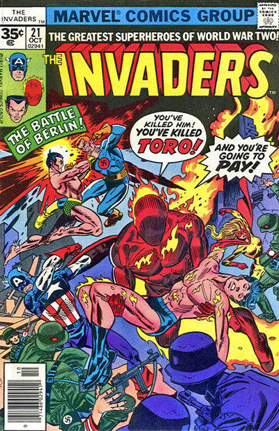Cover for The Invaders (Marvel, 1975 series) #21 [35 cent cover price variant]
