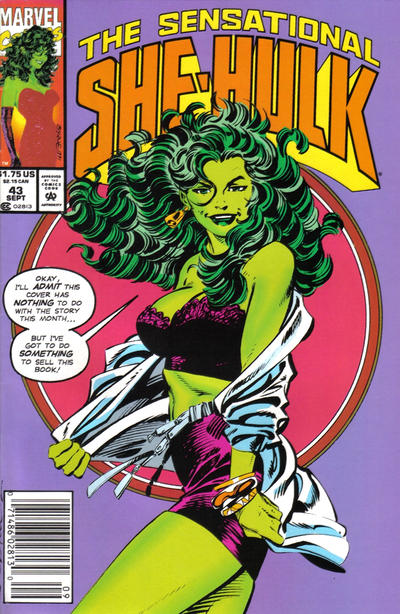 Cover for The Sensational She-Hulk (Marvel, 1989 series) #43 [Direct Edition]