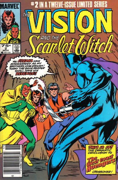 Cover for The Vision and the Scarlet Witch (1985 series) #2 [Newsstand Edition]