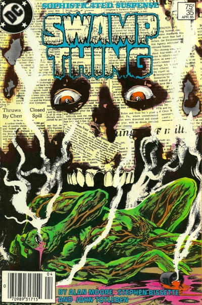 Cover for The Saga of Swamp Thing (DC, 1982 series) #35 [Newsstand]
