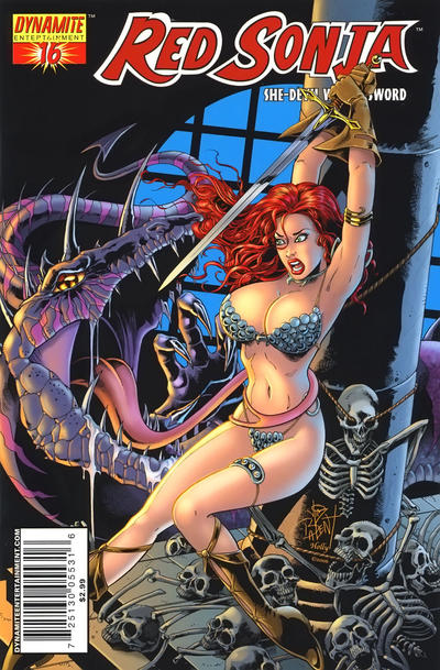 Cover for Red Sonja (2005 series) #16 [Eric Basldua Negative Cover]