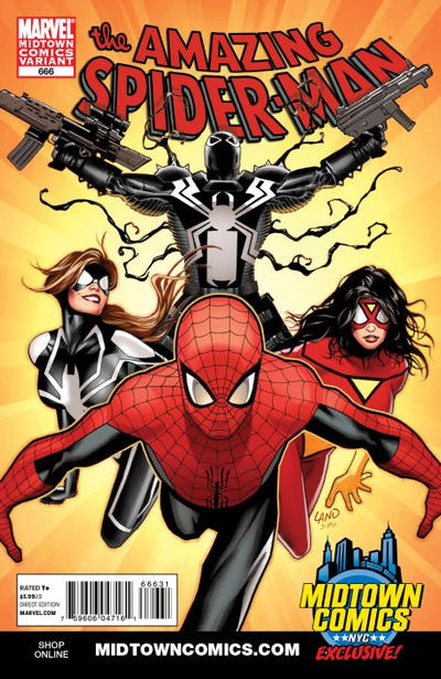 Cover for The Amazing Spider-Man (Marvel, 1999 series) #666 [Midtown Exclusive Greg Land Variant]