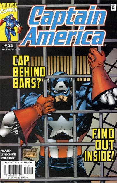 Cover for Captain America (Marvel, 1998 series) #23 [Direct Edition]