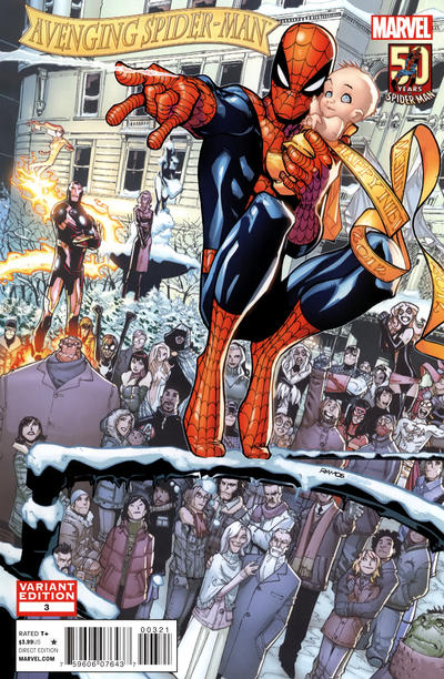 Cover for Avenging Spider-Man (2012 series) #3 [Direct Market 50th Anniversary Variant Cover by Humberto Ramos]