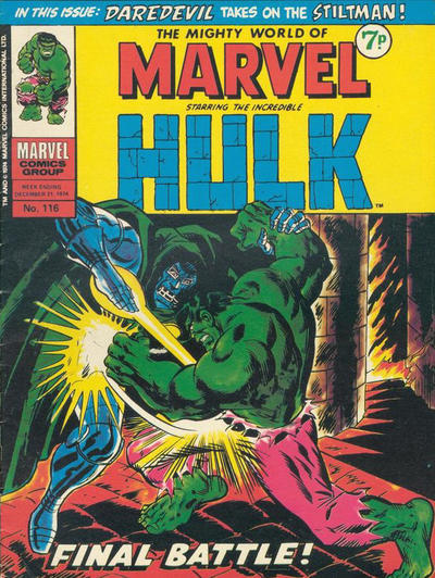 Cover for The Mighty World of Marvel (Marvel UK, 1972 series) #116