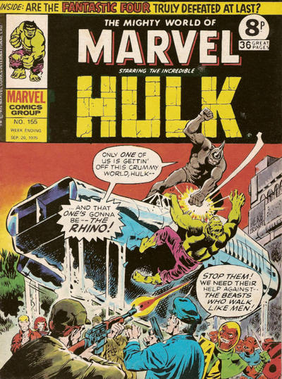 Cover for The Mighty World of Marvel (Marvel UK, 1972 series) #155