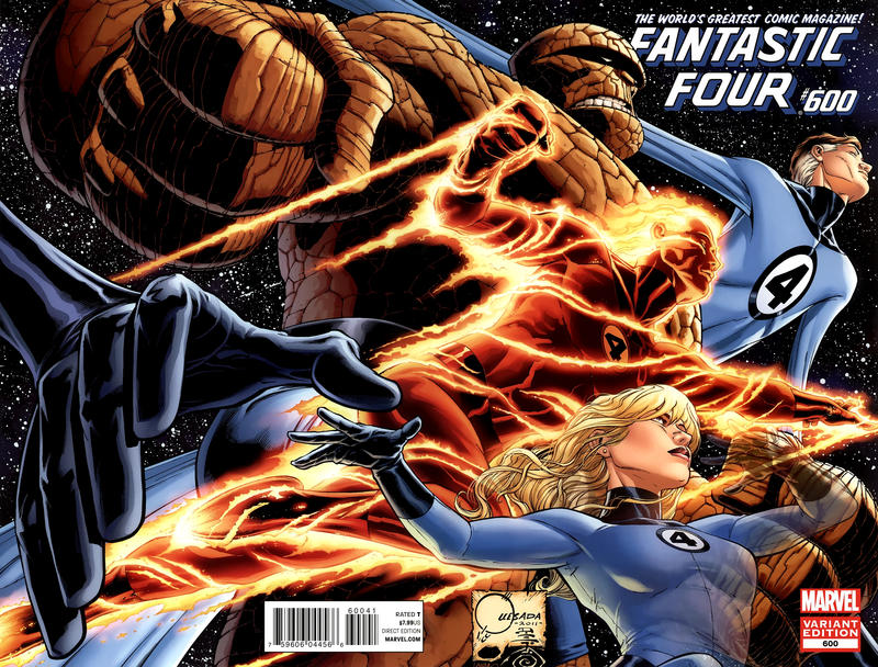 Cover for Fantastic Four (2012 series) #600 [Direct Market Wraparound Sketch Variant Cover by Joe Quesada]
