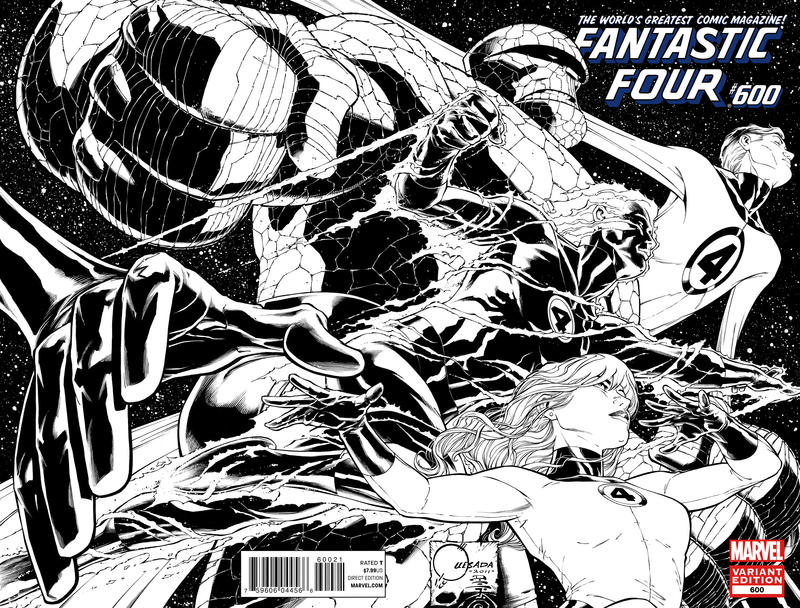 Cover for Fantastic Four (Marvel, 2012 series) #600 [Direct Market Wraparound Sketch Variant Cover by Joe Quesada]