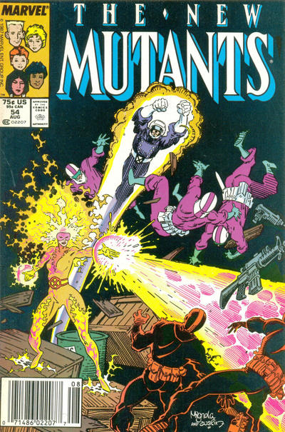 Cover for The New Mutants (Marvel, 1983 series) #54 [Direct Edition]