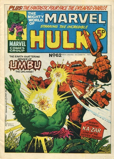 Cover for The Mighty World of Marvel (Marvel UK, 1972 series) #62