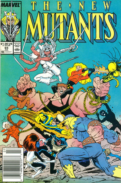 Cover for The New Mutants (Marvel, 1983 series) #65 [Direct Edition]